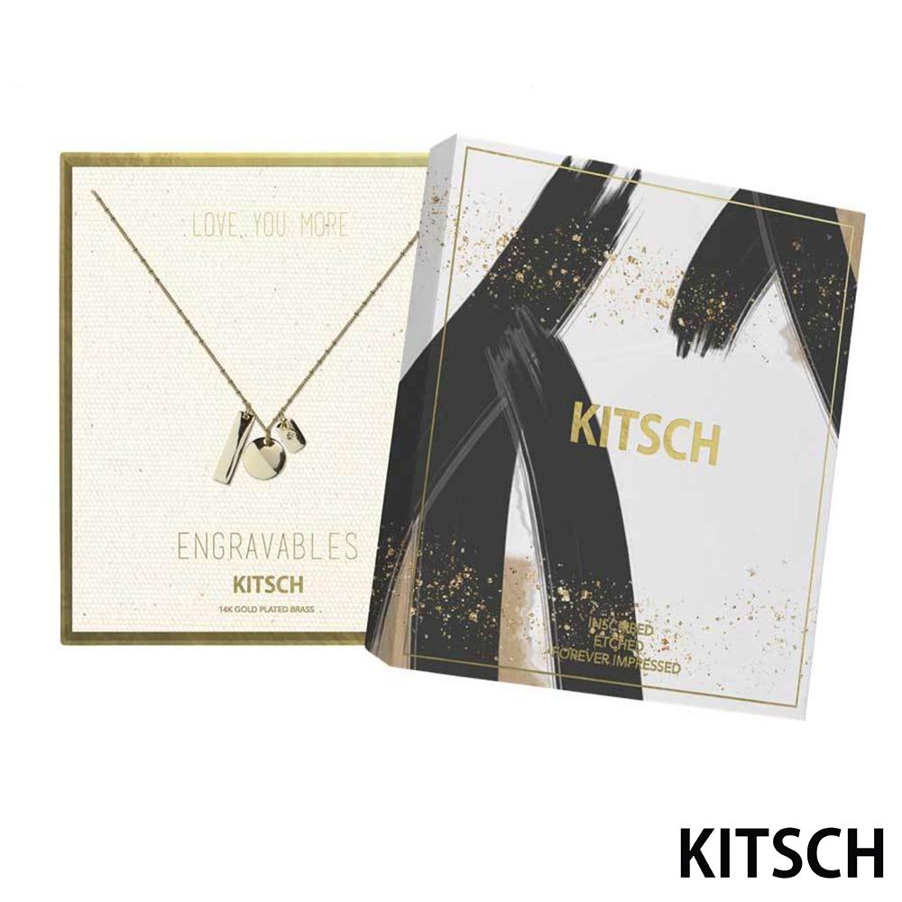 KITSCH 美國加州時尚品牌 幾何鎖片拋光14K鍍金墜飾項鍊