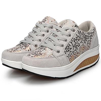 韓國KW美鞋館 法國設計燙金花輕量減重健走鞋-灰