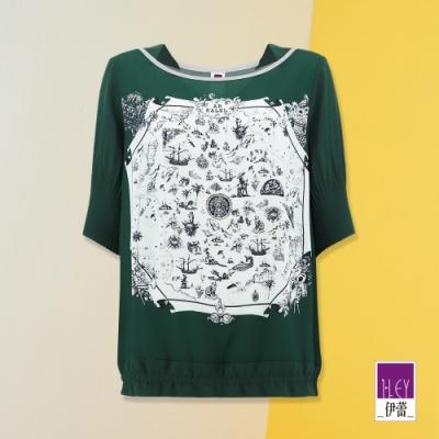 ILEY伊蕾 水墨感地圖印花雪紡上衣(綠)