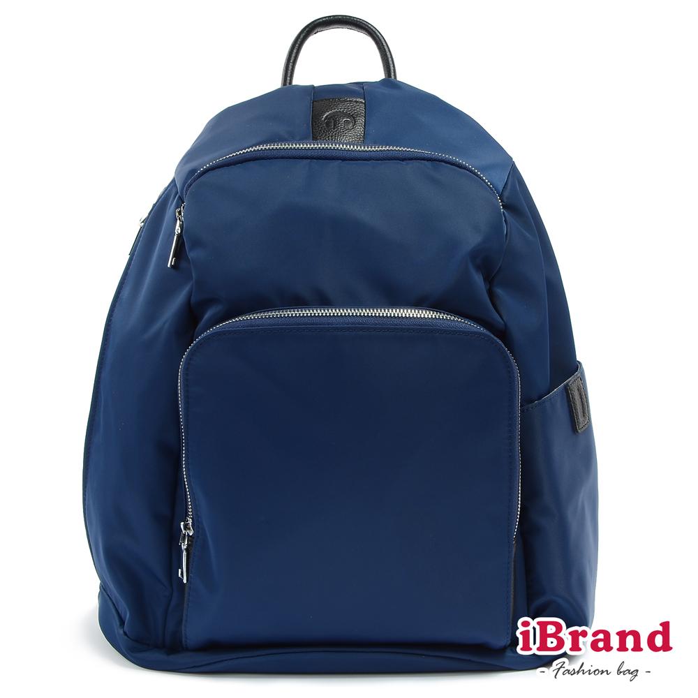 iBrand後背包 率性時尚後開式防盜尼龍後背包(加大)-深海藍
