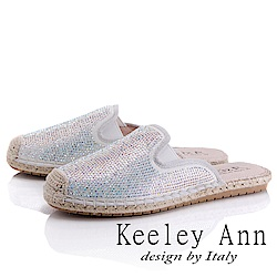 Keeley Ann 極簡步調~簡約水鑽編織滾邊穆勒鞋(白色-Asin系列)