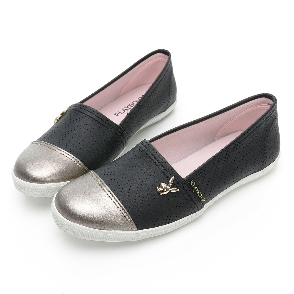 PLAYBOY 韓系小清新 皮革娃娃鞋-黑-Y7210CC