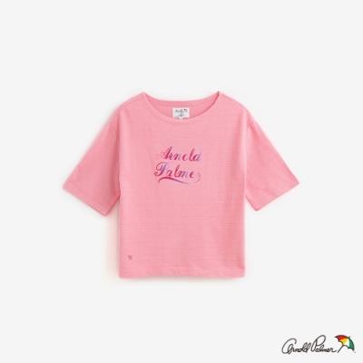 Arnold Palmer-女裝-漸層文字LOGO方形線條五分袖上衣-粉