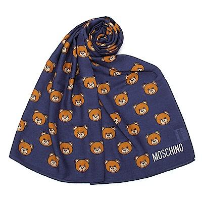 MOSCHINO 經典滿版TOY小熊圖樣100%莫代爾薄圍巾- 深藍色