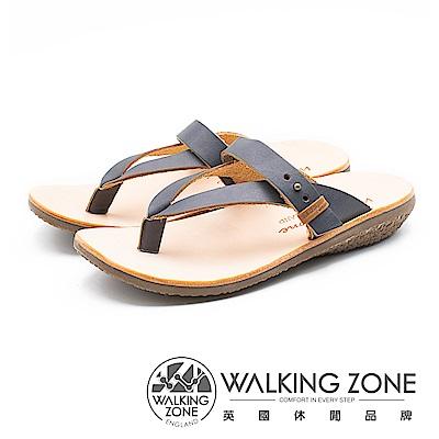 WALKING ZONE 質感真皮夾腳套腳拖鞋 女鞋 - 藍(另有咖)