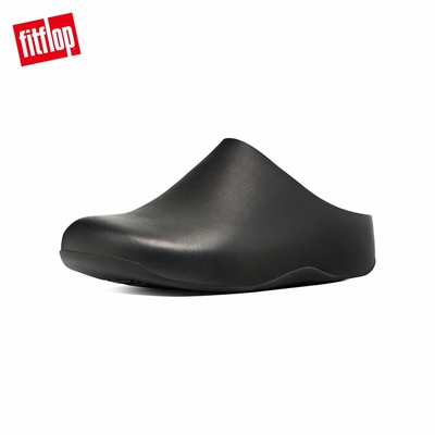 【FitFlop】Shuv Leather 經典舒適木屐鞋穆勒鞋-女(黑色)