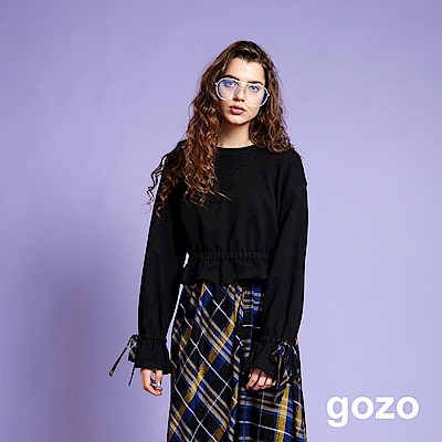 gozo 英倫格紋不規則裙襬二件式洋裝(黑色)
