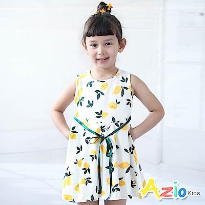 Azio Kids 洋裝 滿版檸檬印花緞帶綁帶無袖洋裝(黃)