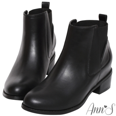 Ann'S 瀟灑自在-後側鬆緊內增高激瘦短靴-黑