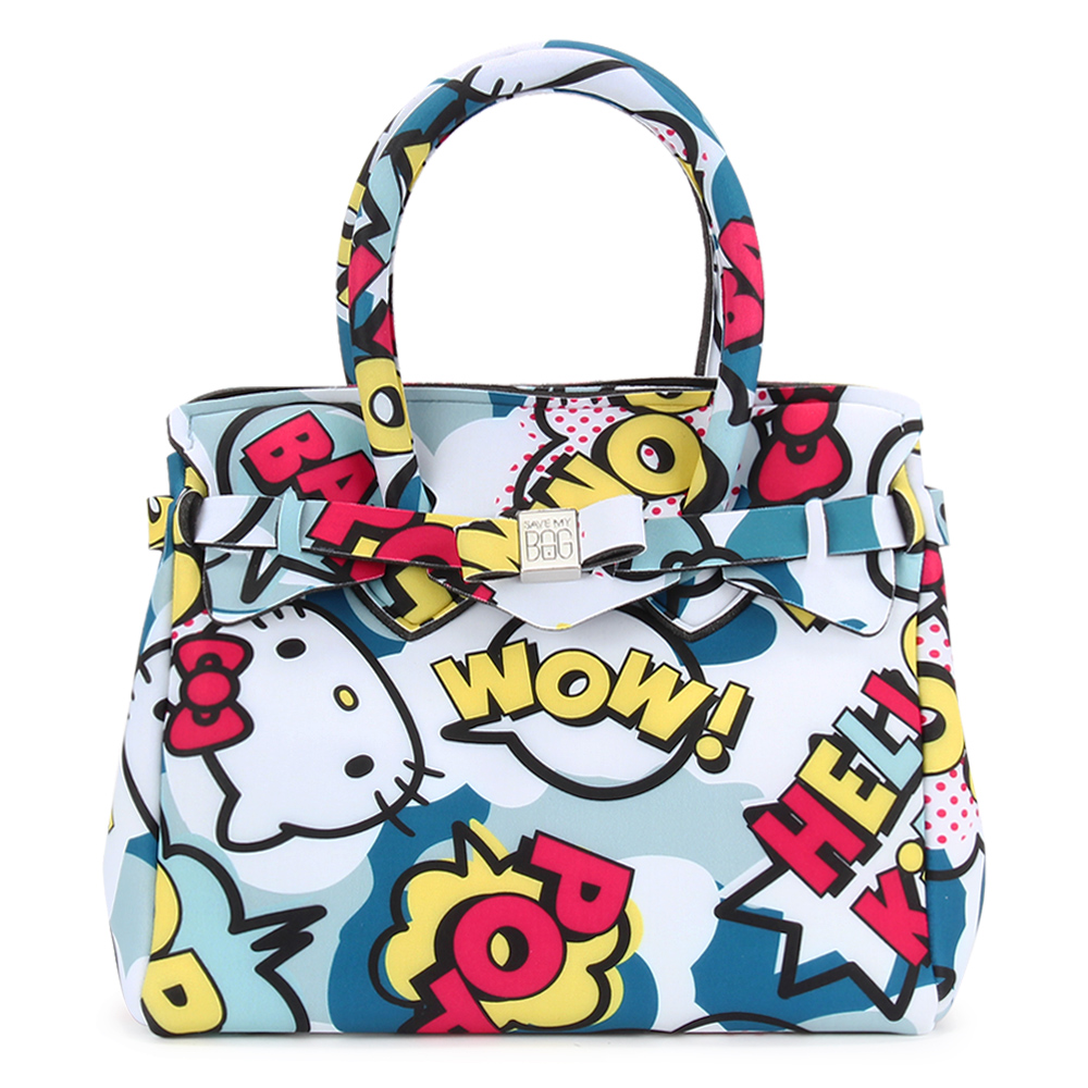 SAVE MY BAG Petite Miss系列Hello Kitty輕量托特包-藍色
