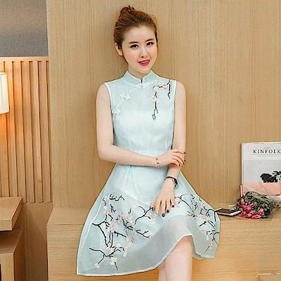中式古典甜美繡花盤釦無袖洋裝S-2XL(共四色)-REKO