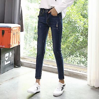 ALLK 刷破9分牛仔褲 深藍色(尺寸27-31腰)