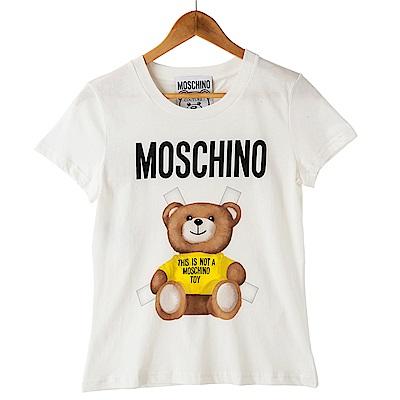 MOSCHINO 經典合身版粉紅叉叉小熊圖案短T (黃色)