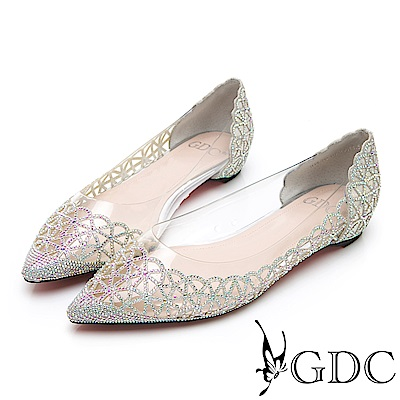 GDC-晚宴典雅閃爍水鑽簍空玻璃感透明雕花平底尖頭鞋-銀色