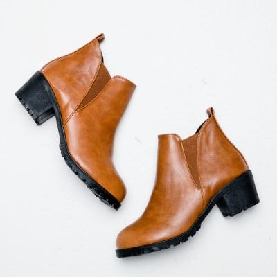River&Moon短靴-極簡素面側鬆緊切爾西短靴-棕
