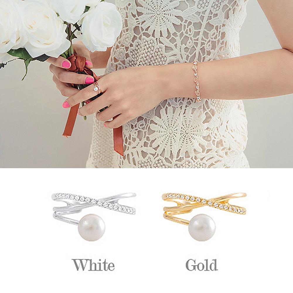 梨花HaNA 韓國皓石珍珠呢喃圈飾細緻戒指