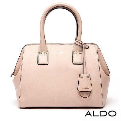 ALDO 原色附鑰匙圈圓環吊飾LOGO兩用包~氣質裸色