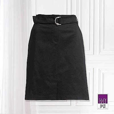 ILEY伊蕾 都會感金屬雙環開衩裙(黑)