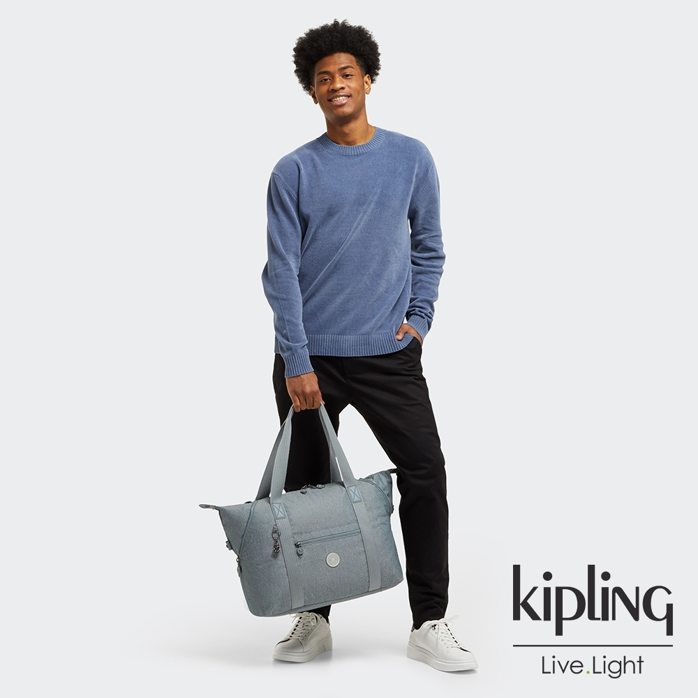 Kipling 個性淺灰藍手提側背包-ART M