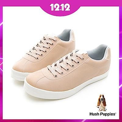 Hush Puppies 質感時尚皮質休閒鞋-杏色