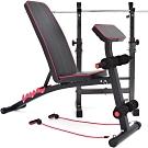 可調式啞鈴椅(二頭肌板+彈力繩) 仰臥起坐板 舉重床舉重椅