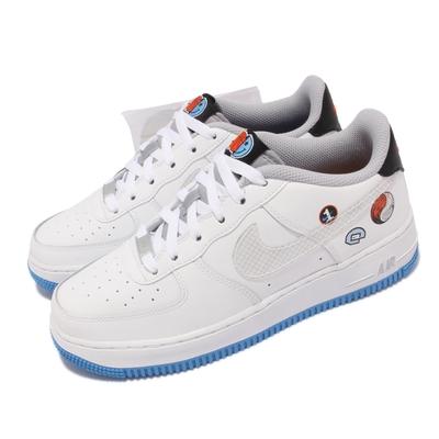 Nike 休閒鞋 Air Force 1 GS 運動 女鞋 經典款 陰陽 籃球元素 笑臉印花 大童 白 藍 DM8088-100