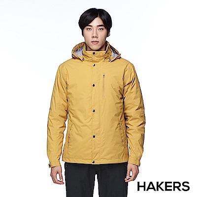 【HAKERS 哈克士】男款 三合一防水保暖外套(黃褐色)
