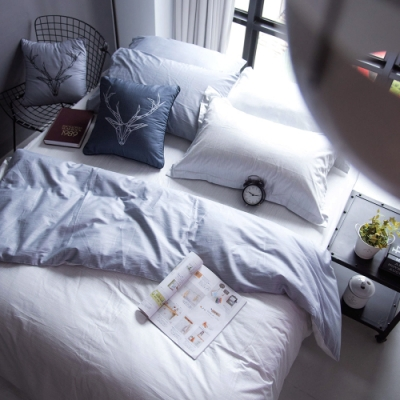 OLIVIA  諾亞 淺灰X灰  標準雙人床包被套四件組 200織精梳純棉
