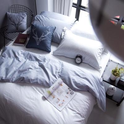 OLIVIA  諾亞 淺灰X灰 加大雙人床包被套四件組 200織精梳純棉