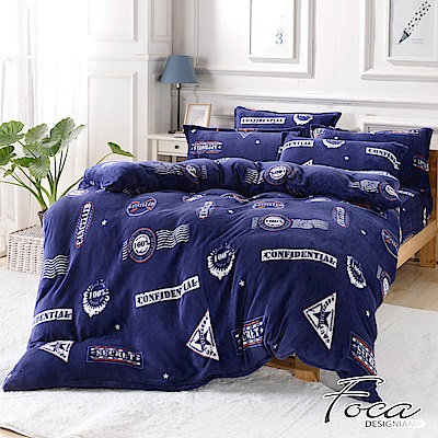 FOCA永恆的勳章 加大舖棉床包-極緻保暖法萊絨四件式兩用毯被套厚包組