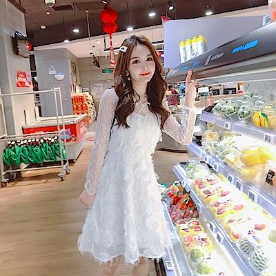 DABI 韓國風名媛蕾絲拼接透視高腰淑女長袖洋裝