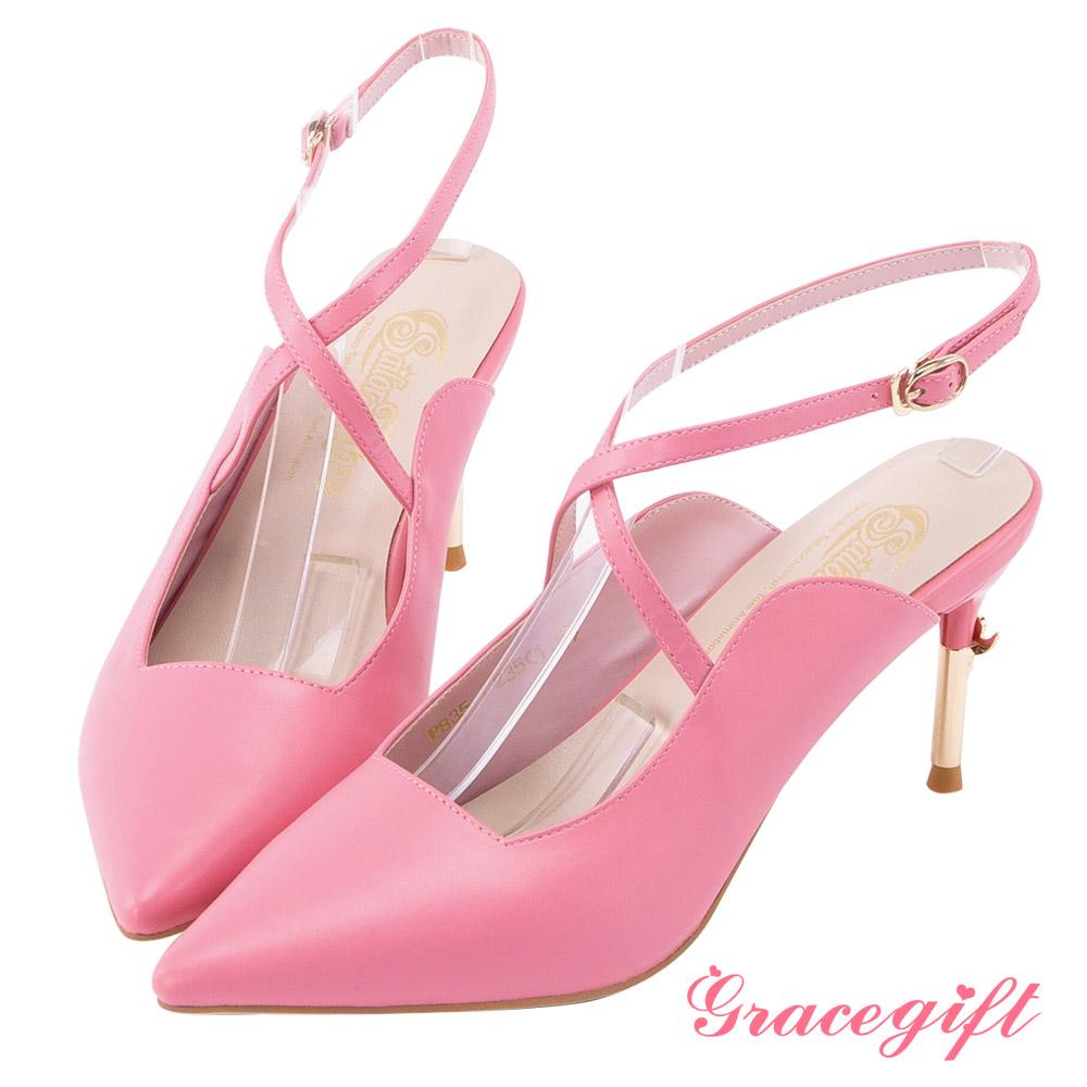 Grace gift-美少女戰士彎月神杖尖頭高跟鞋 桃