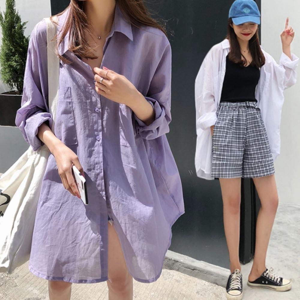 La Belleza素色薄款單口袋微透視亮面防曬雪紡開釦長版襯衫