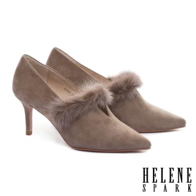 高跟鞋 HELENE SPARK 奢華暖感水貂毛V口全真皮尖頭高跟鞋-杏