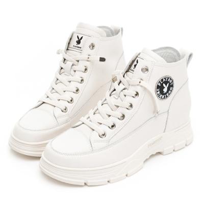 PLAYBOY 內增高真皮短靴-白-Y680311