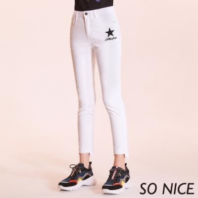 SO NICE簡約星星刺繡修身牛仔褲