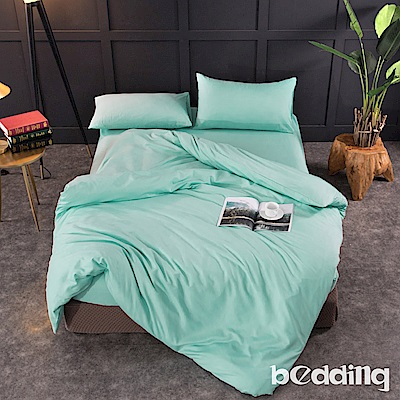 BEDDING-活性印染日式簡約純色系特大雙人薄式床包枕套三件組-碧綠色