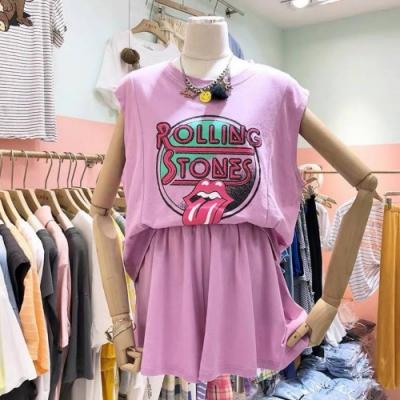 La BellezaROLL英文字吐舌印花寬版棉質背心加鬆緊腰棉質褲裙