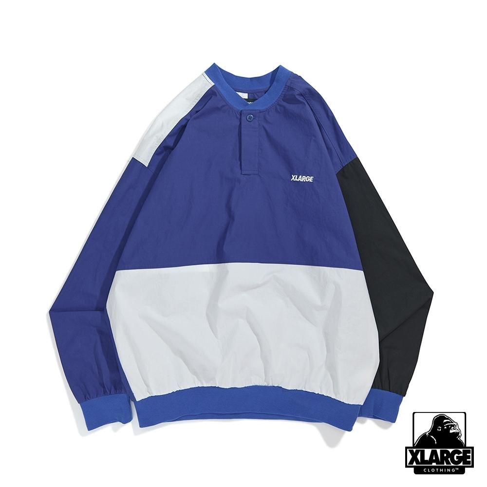 XLARGE PANELED PULLOVER SHIRT長袖T恤-藍
