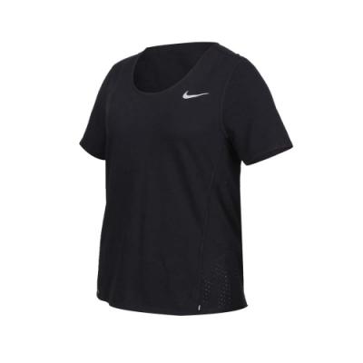 NIKE 女短袖T恤-吸濕排汗 運動 上衣 慢跑 路跑 拼接網布 CU3235-010 黑銀