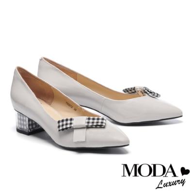 高跟鞋 MODA Luxury 俏麗可拆式造型夾全真皮尖頭高跟鞋-灰