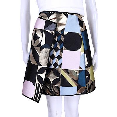 MSGM 彩色燙金幾何拼接及膝裙
