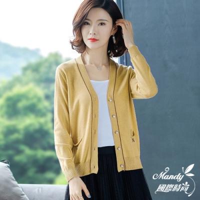 Mandy國際時尚 針織外套 秋 韓系口袋字母長袖毛衣外套(5色)
