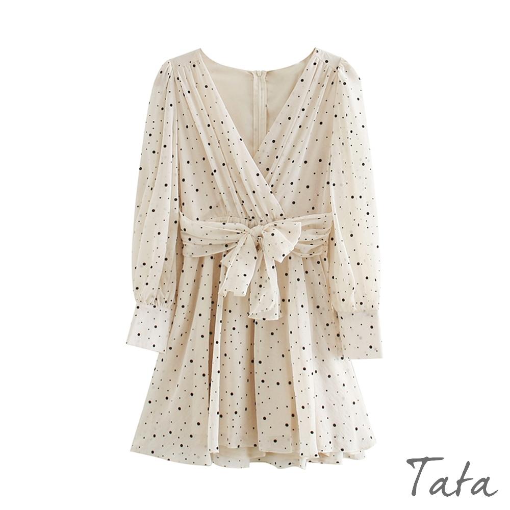 交疊V領抓皺腰綁帶洋裝 TATA-(S/M) (米色)