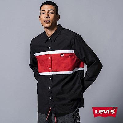 Levis 男款 長袖襯衫 色塊拼接 刺繡Logo 布章