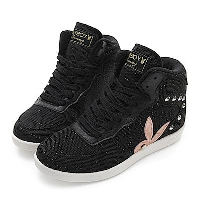 PLAYBOY美型韓系 針織高筒內增高休閒鞋-黑