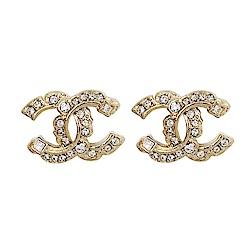 CHANEL香奈兒 經典雙C LOGO 鑲嵌大小水鑽交叉排列方鑽金色耳環