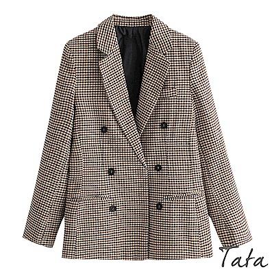 復古格紋西裝外套 TATA
