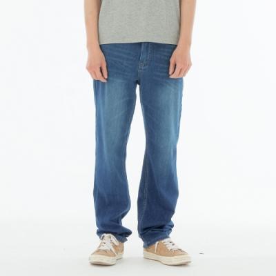 BIG TRAIN 中高腰高彈針織單寧直筒褲-男-深藍