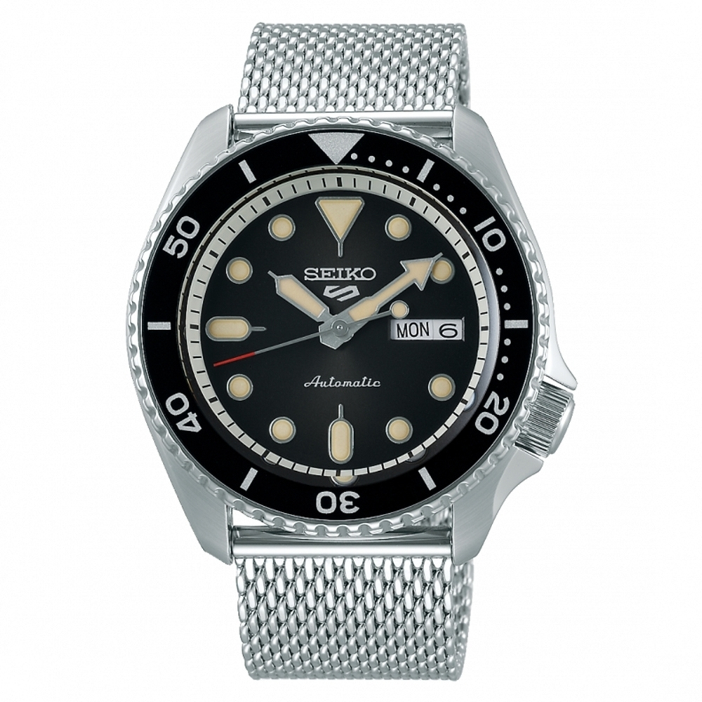 SEIKO 精工 5 Sports 系列 黑面米蘭帶機械錶4R36-07G0D(SRPD73K1) x42.5mm product image 1